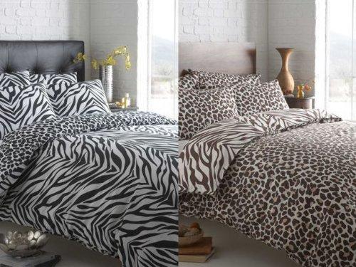 Masai Animal Zebra Leopard Print Revsersible Duvet Cover Bed Set Brown Double