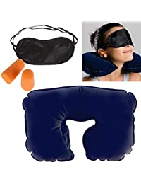WebelKart U-Shaped Easy to Carry 3 in 1 Super soft travel neck pillow Easy to Carry Multi Utility Travel Kit with Eye Mask and 2 Ear Plugs/ Neck Travel Pillow for Car, Train, Flight, Bus