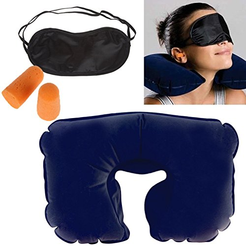 Skyfish Blue Travel Pillow, Eye Mask & Ear Plug