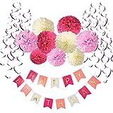 Recosis Pancartas de Banderines de Happy Birthday con 9 Pom Poms Bola de la Flor y 15 Guirnaldas verticales para Fiesta de Cumpleaños, Rosa