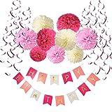 Geburtstag Dekoration Set, Recosis Happy Birthday girlande mit Spiralen Dekoration und Seidenpapier Pompoms Kindergeburtstag Deko für Mädchen und Jungen Jeden Alters - Rosa, Pink und Cream