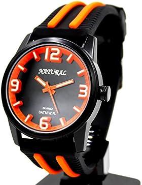 10fw848t schwarz Zifferblatt Wasser widerstehen Silikon Schwarz Band Boy Girl orange Fashion Armbanduhr