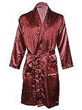 Octave - Kimono / robe / robe de chambre en satin de luxe imprimé d'été pour hommes -  Rouge - Large