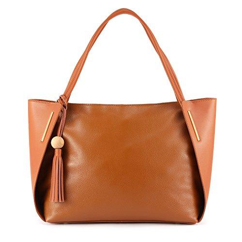 Kattee Leder Handtasche Damen Top Handgriff Quaste Design Umhängetasche für Office Lady(Braun)