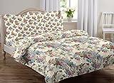#6: AURAVE Multicolor Floral Design Pattern Reversible Premium Cotton Duvet Cover/Quilt Cover -King Size