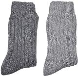 CrossoX Wollsocken mit Alpakawolle einfarbig | super weich und warm | 2 Paar (dunkelgrau/hellgrau, 39 42)