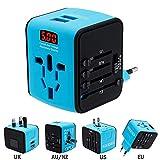 Adaptador de viaje universal Mini Ladegerät (US UK AU EU) Ladestecker mit max 2.4A Puerto USB dual zwei Respuestas desde el panel de control a la toma de corriente (Verde)