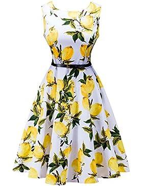 Sponsorizzato KUONUO Annata Vestito anni  50 Donna Elegante Cerimonia  Cocktail Floreale Abito in 5ae9bae8de0