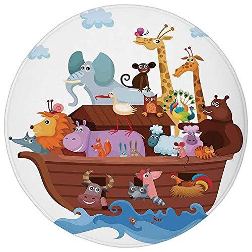 Pet Mat Round Rug Mat Carpet,Noahs Ark,Happy Animals in Noahs Ark Clipart Religion Theme Waves Clouds Artwork Print,Multicolor,Flannel Microfiber Non-slip Soft Absorbent,for Kitchen Floor Bathroom -