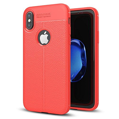 """MOONCASE iPhone X Coque, [Litchi Pattern] Housse Resilient TPU Etui Anti-Rayures Antichoc Protection Case Rugged Armure Defender pour iPhone X 5.8"""" Navy Rouge"""