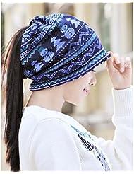 Sombrero de doble propósito Sombrero de lana de tejer azul de Navidad