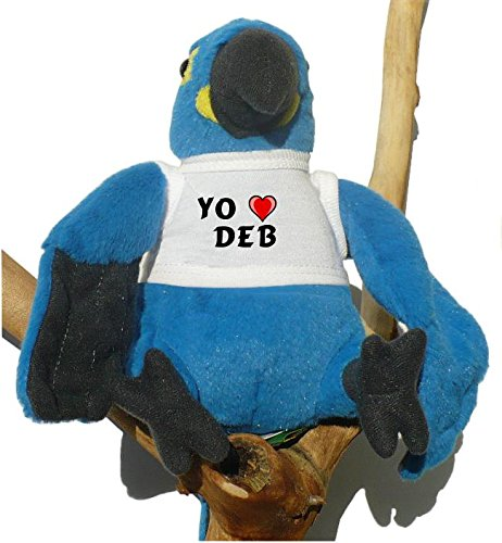 Blue stuffed parrot with I love Deb on the shirt (first name / surname / nickname)