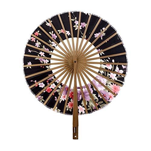 DFRgj Handheld Faltfächer Chinesisch/Japanische Vintage Retro Silk Bambus Windmühle Fan 360 Grad Faltfächer Alte Runde Kirschblüte Anime Faltfächer (Farbe : Schwarz)