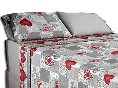 Centesimo Web Shop Completo Lenzuola Letto di Flanella Caldo Cotone in 2 Misure Cuori Cuoricini Cuore - Matrimoniale Rosso