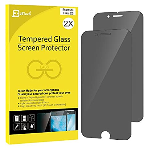 iPhone 6s Confidentiel Film Protection Ecran, JETech 2-Pack Prime Anti-Espion Protection Ecran en verre trempé pour Apple iPhone 6 et iPhone 6s (Noir) -