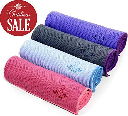 Heathyoga Yogahandtuch, Rutschfest (Wet Grip)- hohe Bodenhaftung (Silikonbeschichtung), ideal für Hot Yoga, Ashtanga