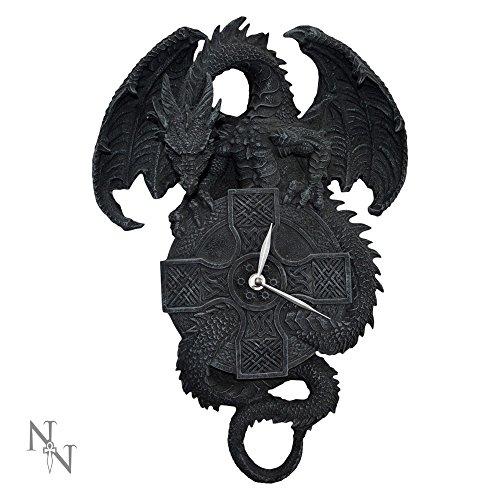 Nemesis Now diseño gótico dragón de la pantalla de tiempo Negro Reloj de pared–39cm