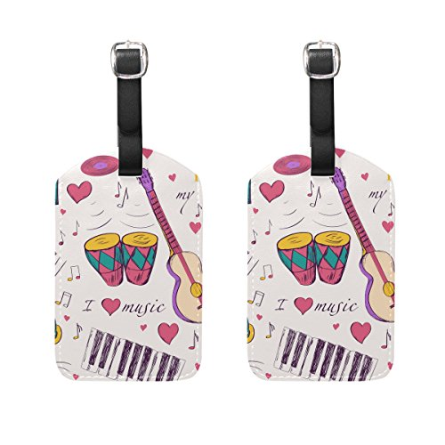 COOSUN Musikinstrumente Muster Kofferanhänger Reise Labels Tag-Namenskartenhalter für Gepäck Koffer Tasche Rucksäcke, 2 PCS Mittel Mehrfarbig