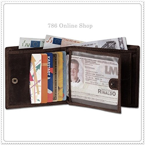 Leder Herrenbörse Herren Börse (263B) Portemonnaie Geldbeutel Portmonee Portmonai Geldbörse Neu Farbe Braun Braun
