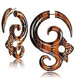 CHICNET Damen Herren Fake Piercing Dehnschnecke Dehnspirale Expander Dehner Hook aus Narraholz Holz und Edelstahl, handgeschnitzt, Gekko oder Ornament