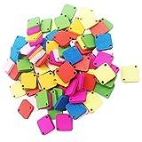 F Fityle 100 Holzknöpfe Dekoknöpfe mit verschiedenen Farbe für Scrapbooking, Kinder, Projekte, Künste & Handwerk.