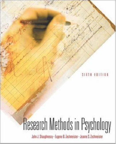 Research Methods In Psychology by John J Shaughnessy (2002-07-16)