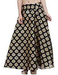 Nika Women's Hand Block Printed Dupion Silk A-Line Skirt_Black