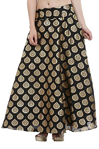 Nika Women's Hand Block Printed Dupion Silk A-Line Skirt_Black