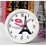niñas de época reloj despertadores clock de escritorio lindo pescados Eiffel y del gato lindo (Eiffel)