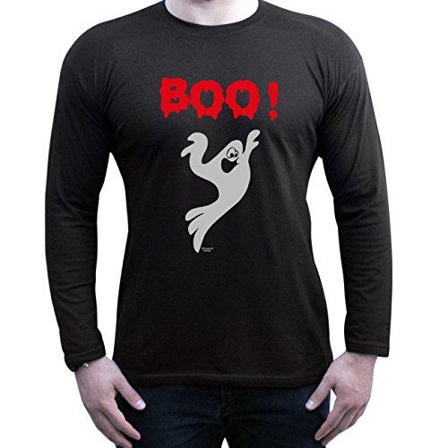 Soreso Design Boo! Halloween Kostüm Fun Motiv Langarmshirt Herren Verkleidung Party Outfit Bekleidung tolles Geschenk Farbe: schwarz Gr: S