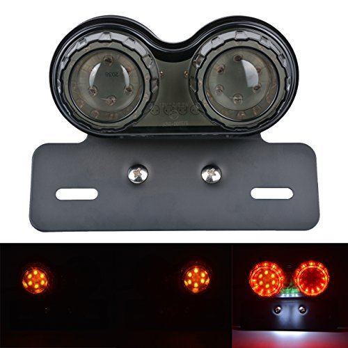 KaTur Motorrad Rücklicht 40W 40 LEDs Integrierte Lauf Bremslicht Blinker Lampe mit Kennzeichenhalter für Harley Honda Yamaha Suzuki Kawasaki ... (Blinker, Nummernschild-halterung)