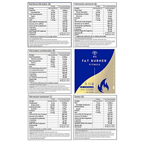 510R34T2mAL - Quemagrasas Natural Termogénico Adelgazante Fat Burner Supresor de Apetito Ingredientes 100% Naturales 120 Cápsulas Vegetal Alta Concentración Certificado VEGANO Fabricado en CE. N2 Natural Nutrition