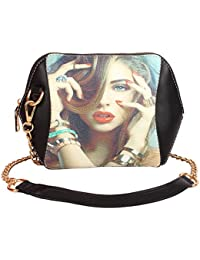 Styles Creation Women's Brand New Designer Party Wear Faux Leather Black Sling Shoulder Clutch Purse Handbag (...