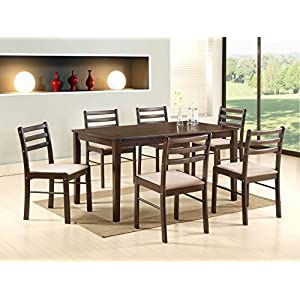 T2A Furniture Duoflex 6 Seater Solid Wooden Dining Table Set (Cappuccino Finish, Brown)