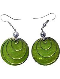 Ohrringe aus Muschel in vielen schönen Farben, Farbe:grün