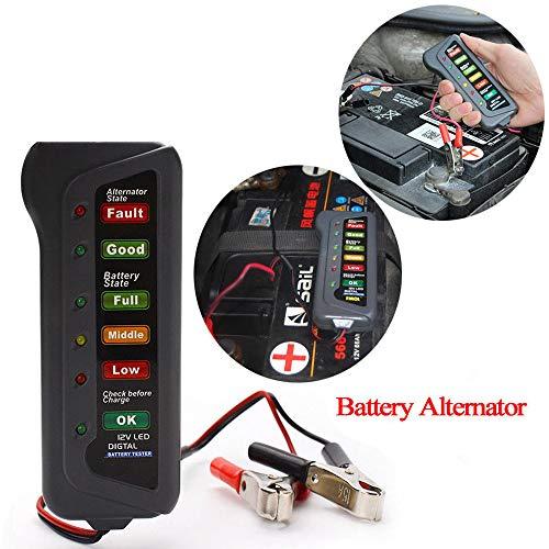 Tensay 12V Auto Auto Digitaler Akku Generatorprüfgerät 6 LED-Lichter zeigen Diagnosewerkzeug für das Auto-Motorrad-Yacht-Batterietestgerät Batterietester