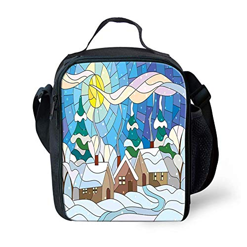 Lunch Bag Tote Boxes Bags Insulated LunchBags Stained Glass Inspired Art with Cold Snowy Weather Village with Smoking Chimneys,Lunch Box for Men/Women Boys/Girls Kids -
