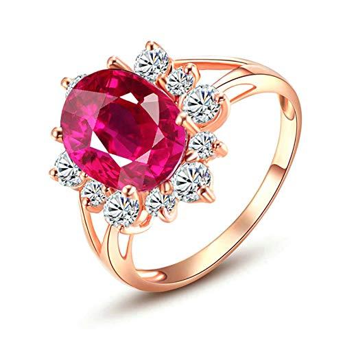 Aooaz gioielli oro 18k anelli donna fiore ovale pietra 4.13ct proposta fidanzamento anello fidanzamento oro rosa dimensione italiana 11