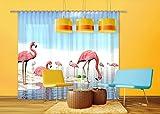 AG Design Gardinen – Vorhänge – Fotogardinen - Flamingo - 280 x 245 cm – 2 Teile – FCSXXL 7423
