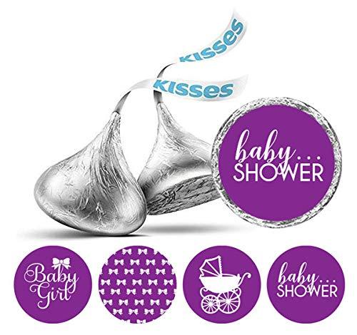 shey Kisses Schokolade Labels 190 PC-Baby-Duschen-Party-Thema-Aufkleber-Lila ()