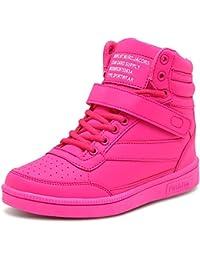 7e278d83e76e SSRSH Femme Lacets PU Cuir Chaussures Compensées Basket Montante Sport  Sneakers Wedge Heels Plat Scratch Talon