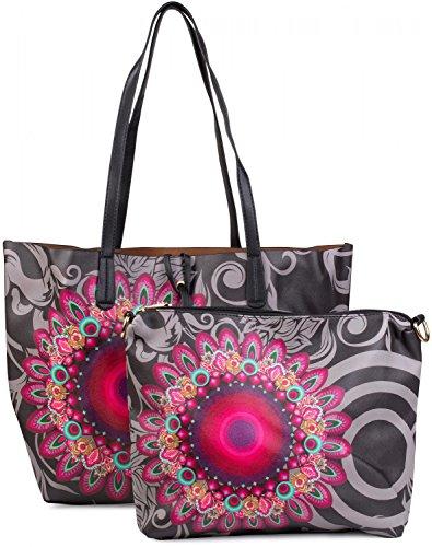 styleBREAKER Ethno Blumen Muster Handtaschen Set, Shopper Tasche und Umhängetasche, Damen 02012055, Farbe:Schwarz