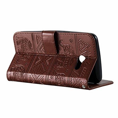 Für Samsung Galaxy J3 Prime Premium Leder Schutzhülle, weiche PU / TPU geprägte Textur Horizontale Flip Stand Case Cover mit Lanyard & Card Cash Holder ( Color : Pink ) Brown