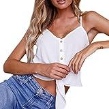 OverDose Damen Sommer Casual Weste Tops Vest Frauen Knopf Ärmellos Crop Top Weste Tank Shirt Bluse Oberteile V-Ausschnitt T Shirt (Weiß,EU-36/CN-S)