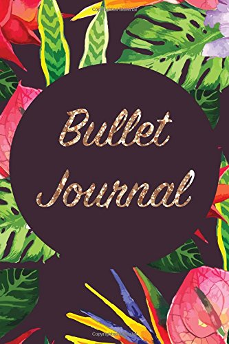 Bullet Journal: Tropical Gold Sequin 6x9 Dot Grid Notebook   Bright, Floral Style