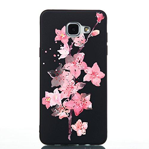 Carols Samsung Galaxy A5 2016/SM-A510F Cover Custodia Protezione, [nero] Gomma Morbido Cellulare Ultra-Slim Protettiva Bumper Guscio per Samsung Galaxy A5 2016/SM-A510F (5,2 Zoll) - Fiori rosa