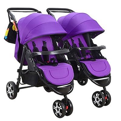 Portátil Doble cochecito de bebé Tela de licra Ajustar Sombrilla Toldo Amortiguador Cuatro ruedas Pueden sentarse / mentir Carro plegable plegable Carro de bebé desmontable Neumático del amortiguador