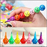 Cute Imported Stackable Smiley Crayons & Pencil Set For Kids/B'day Return Gift -Big Size (Combo Pack Of 2 Pcs.)