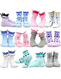 TeeHee Lot de 12 paires de chaussettes basiques en coton pour enfants filles