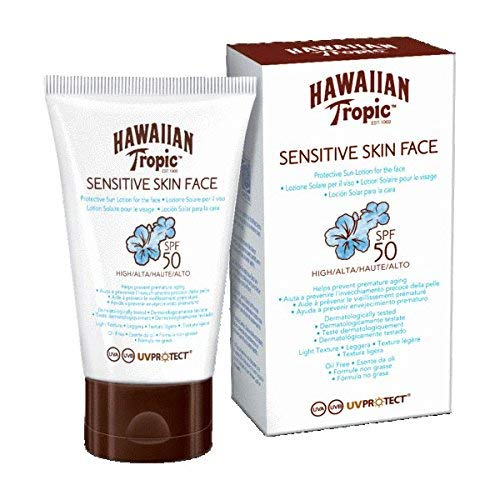 Hawaiian Tropic SENSITIVE SKIN FACE SPF 50, Lozione Viso per Pelli Sensibili - 60 ml